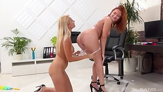 Torrid lesbo babes Nikky Dream and Eva Barger have office mating
