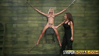 Sextractive blonde involving act boobs Marsha May is tied more and punished by brunet mistress